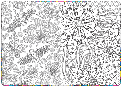 relaxation coloring book inside page spread