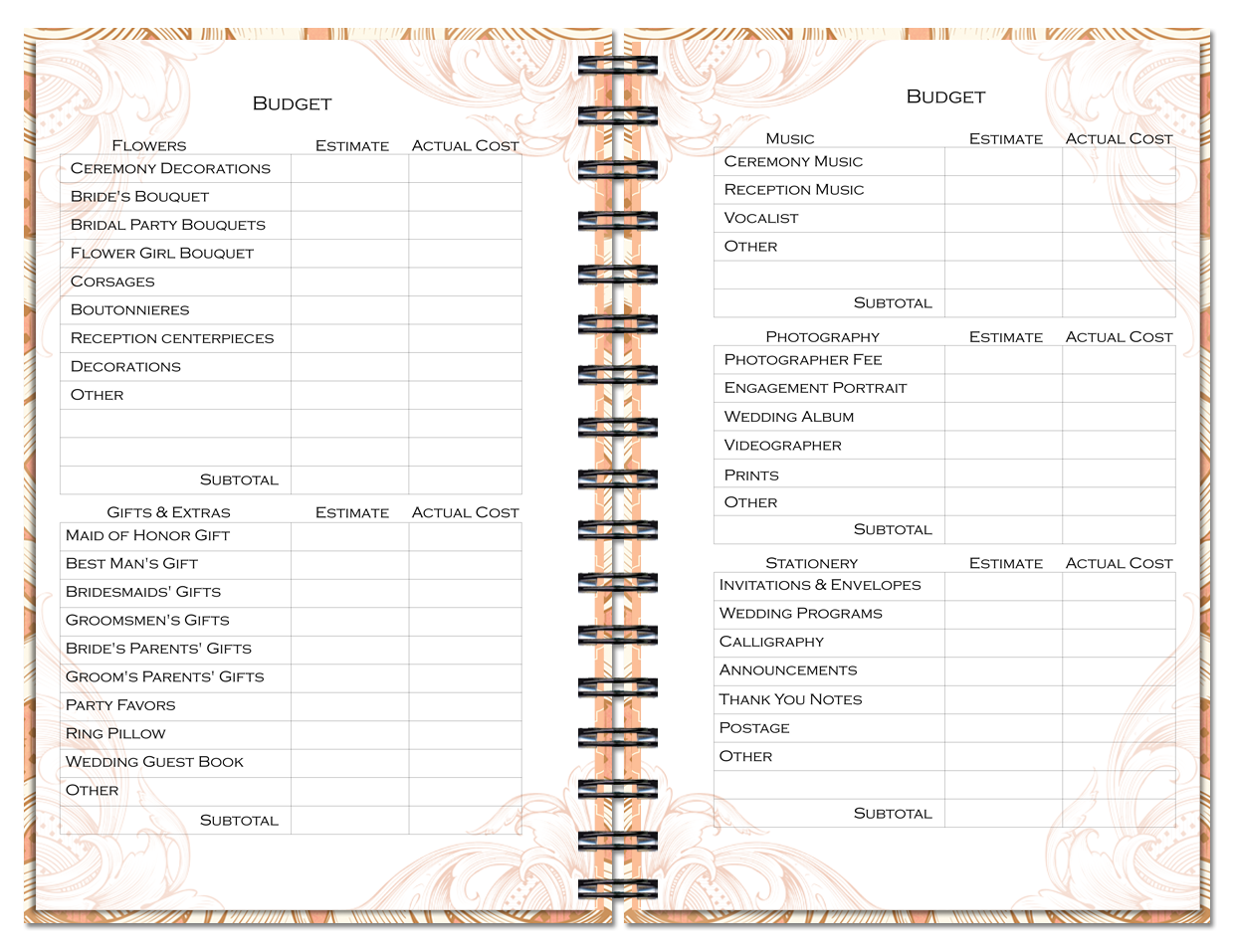Wedding Planner And Organizer With Custom Pages