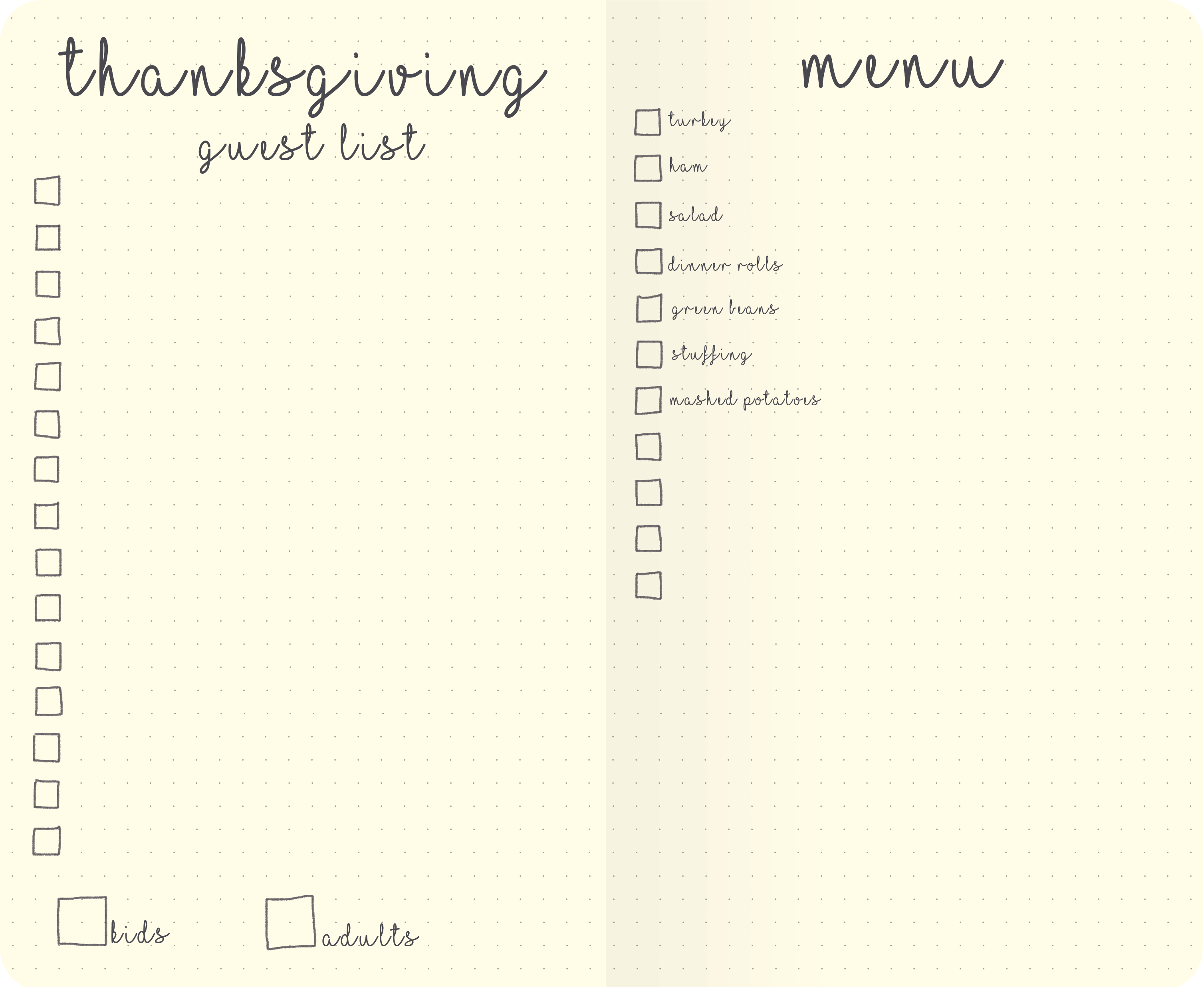 thanksgiving bujo