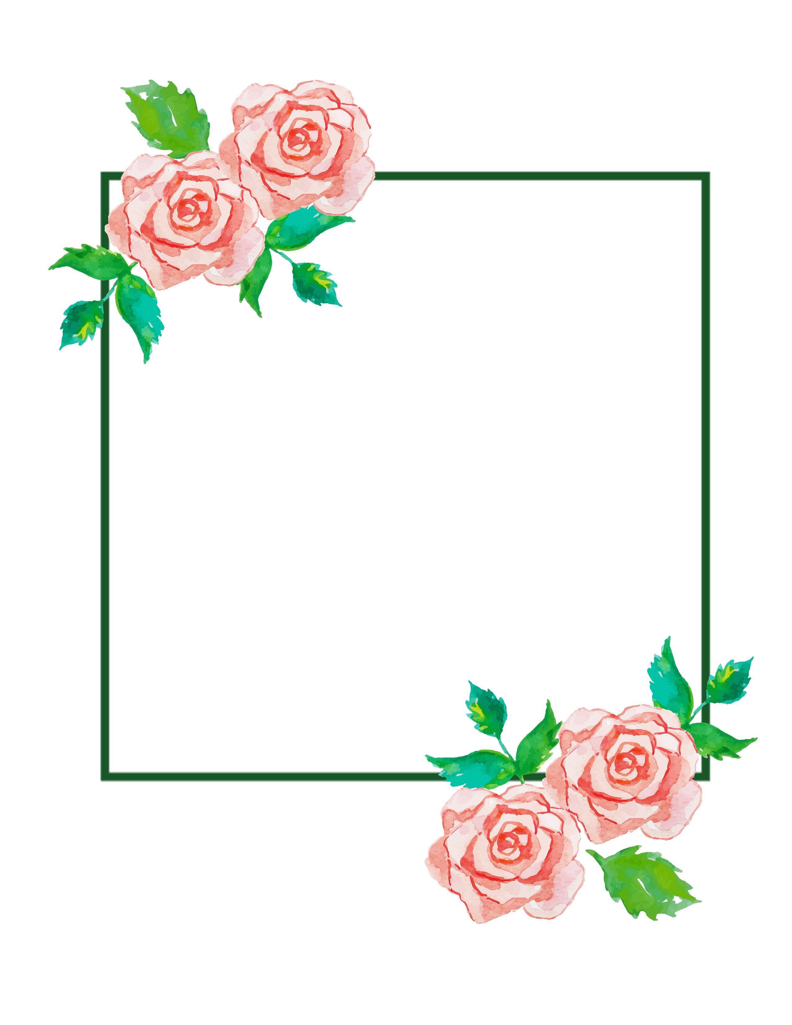 Rose Rectangle Frame