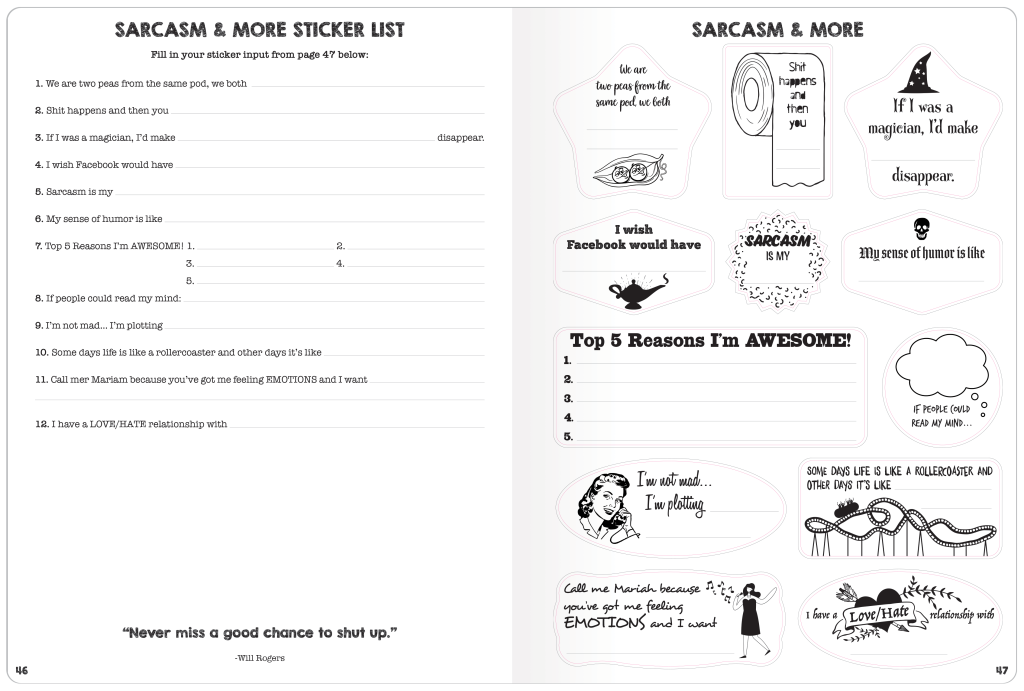 Write Your Sticker inside page example 4