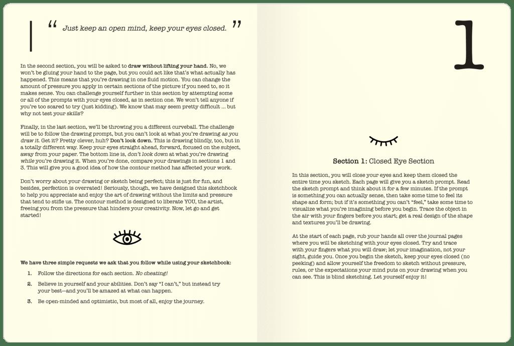 Closed Eye Sketchbook Inside Page Example 2